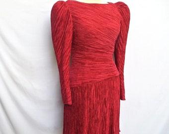 Vintage Mary McFadden Dress/Red Silk Fortuny Pleat Dress/Red Silk Evening Dress/Fortuny Pleat Dress/1980's Mary McFadden/Small-Medium
