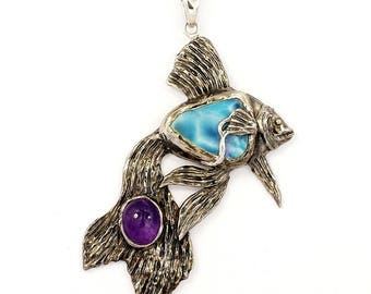 One of a Kind Sterling Silver Fish Pendant