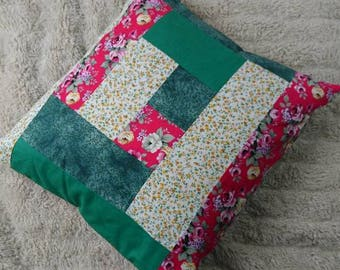 Log cabin patchwork cushion pink, yellow and green