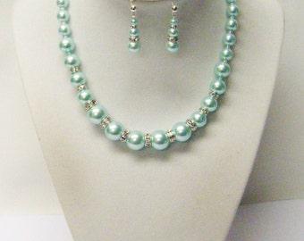 Aqua Glass Pearl w/Rhinestones Choker Necklace/Earrings Set