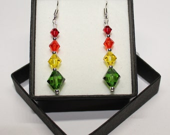 Sterling Silver graduated Bicone drop earrings made with Swarovski® Crystals - Scarlet, Hyacinth, Citrine, Fern Green