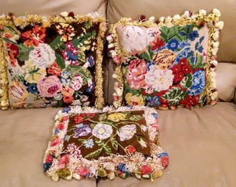 Three Beautiful, Vintage, Needlepoint Pillows with Silky Tassels and Down Feather Stuffing