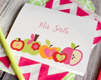 Teacher's Personalized Stationery / Personalized Stationary / Personalized Note Cards / Stationery Set - Apple for teacher Design Stationery