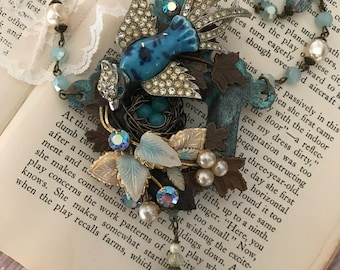 Repurposed vintage jewelry, necklace, upcycled, ceramic bird, nest, OOAK assemblage, nature, patina, aqua, pearls, vintagefrivolity