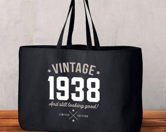80th Birthday, 80th Birthday Idea, Great 80th Birthday Present, 80th Birthday Gift 1938 Birthday, 80th Birthday Bag, Tote, Shopping Bag