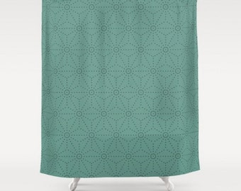 Mid century modern shower curtain Light teal shower curtain Shibori pattern Light green blue shower curtain Available in other colours