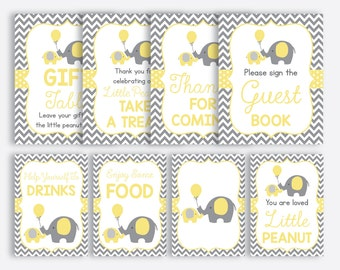 Instant Download, Elephant Baby Shower Table Sign, Elephant Party Sign, Little Peanut Party Sign, Boy, Girl, Yellow Gray Chevron (SBS.37)