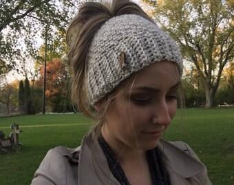 CH Crochet Ponytail Messy Bun Hat
