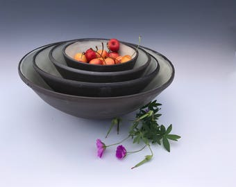 Chocolate and Cream Nested Bowl Set - Wheel Thrown Pottery Bowl Set - Mixing Bowl Set - Serving Bowl Set - Stoneware Pottery Bowl Set