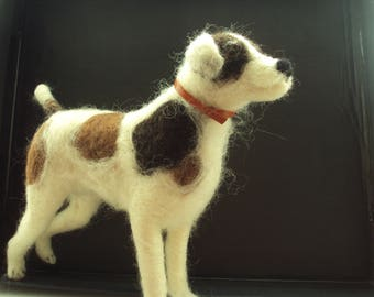 Needle felted terrier dog wool sculpture handmade unique gift