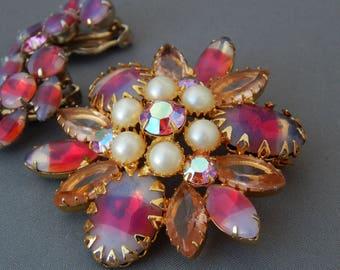 Vintage Juliana DeLIZZA & ELSTER Rhinestone Pearl Pin Earrings Demi Parure Juliana, Pink AB Striped Rhinestones Fruit Salad, Estate Jewelry