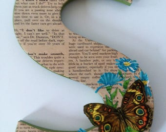 Letter S With Vintage Magazine Page and Butterfly Illustration