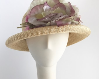 Sun Hat in Natural Straw and Flowers with a Rolled Brim