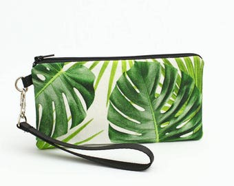 Palm Leaf iPhone Wristlet, Galaxy S8 Purse, Cell Phone Wristlet Bag, Monstera iPhone 7 Plus Case, Jungle Clutch Wallet - tropical palm leaf