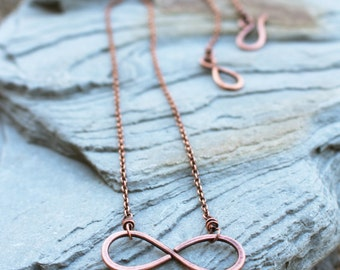 Infinity Necklace, Oxidized Copper, Minimalist, Wire Jewelry