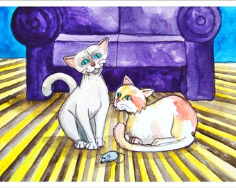 Downloadable Print, Two cats and a mouse, Color Pencils