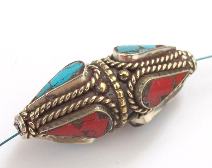 1 Bead - Large Nepal brass pendant bead with turquoise coral inlay - BD115