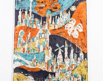 "Mid Century Modern Tapestry Wall Hanging Tie Dye Batik Canvas Original Art Artwork Large 60"" M Scandanavian Orange Blue Green Abstract"