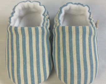 Linen stripe baby boys mocc's, pre walkers, soft sole baby shoes