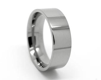 8mm Titanium Wedding Band, Flat Titanium Ring, Polished Titanium ring, Ring for men, Men's Ring, Men's wedding Band, Comfort Fit Rings, 0032