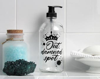 Shakespeare Lady Macbeth Glass Soap Dispenser - Out, Damned Spot