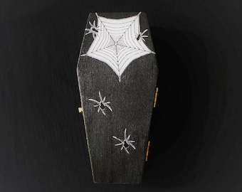 Spider Coffin Ring Box In Black, Halloween, Gothic