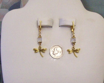 Antiqued Gold Dragonfly Clear Faceted Glass Many Colors to Choose From