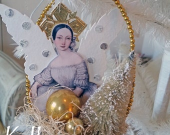Christmas Angel -  Christmas ornament  - altered peat pot - NO487