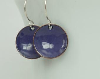 Purple Enamel Disc Earrings - Enamel Jewelry, Minimalist Jewelry, Minimalist Earrings, Simple Earrings, Dot Earrings, Boho Jewelry Earrings