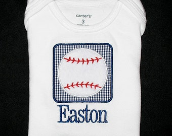 Custom Personalized Applique Minky BASEBALL PATCH and Name Shirt or Bodysuit - Navy Blue Mini Gingham