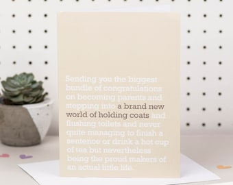 A Brand New World Of Holding Coats - New Parents Card