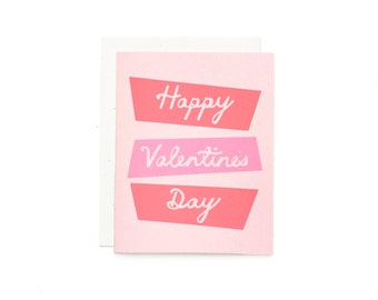 Valentine Card / Happy Valentines Day / Valentines Day Card / Cute Valentine Card / Screen Printed Card / Retro VDay Card