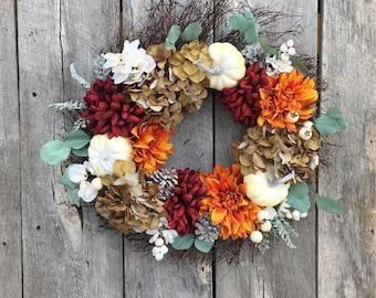 Autumn Front Door Twig Wreath with Pumpkins