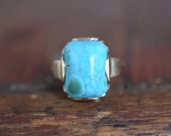 1930s 10K Vintage Robin's Egg Blue Turquoise Ring in Yellow Gold *As Found*