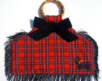 Scotch Royal. Bamboo handled handbag. Made in the USA.