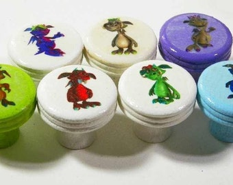 Little Monsters Knobs, Kids Bedroom or Play Room Decor. Colorful Smiling Monster Characters. Buy One or Two or a Dozen. Bulk Discounts.
