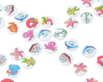 12 fish 19 x 20 mm wooden buttons