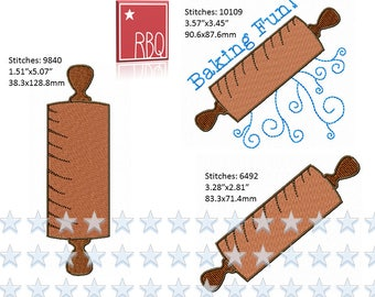 Rolling Pin Baking Roll the Dough Bake Apron Towel Kitchen Embroidery Design Cute  PES many formats  Applique 4x4 + 5x7 hoop - Zip File