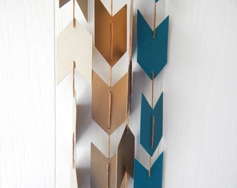 Arrow Garland in Dark Teal Antique Gold and Gold Leaf