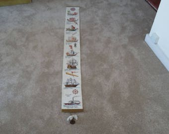 Vintage Needlepoint Tapestry Length Vintage Boats and Ships