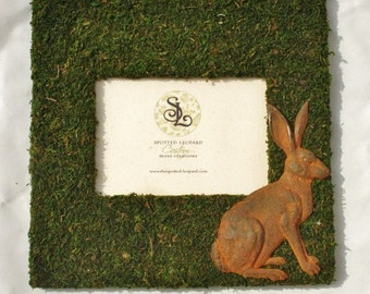 French Country Moss Covered 11x11 Picture Frame with Rusty Tin Bunny Rabbit