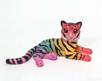 Rainbow Tiger Cub Sculpture, Hand painted Resin Figure, Animal Lover Gift