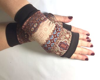 Fingerless  gloves brown Completely Lined