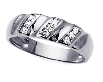Men 14K White Gold CZ Concaved Wedding Band Ring / Free Gift Box(ATR243GW)
