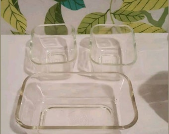 Vintage Pyrex Clear Refrigerator Dishes with No Lids Set of 3
