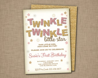 Twinkle Twinkle Little Star Birthday Invitations - Blush Pink and Gold Glitter
