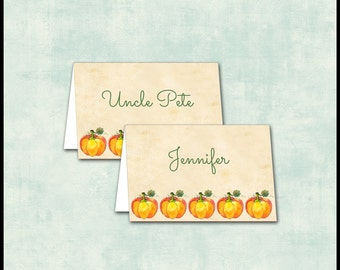 Thanksgiving Place Cards / Holiday Dinner Seating Cards / Pumpkin Autumn Fall / Folded Tent Card / Personalized / YOU PRINT