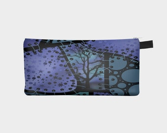 Faux patchwork pencil case, blue or purple and turquoise make-up bag, handmade costmetics case designed by Felicianation Ink