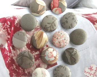 Handmade Grey Red Pink White Moda Elegant  Floral Flower Fabric Covered Buttons, Flat Backs, 1 Inch 14's
