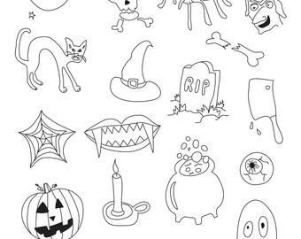 Set of Halloween Illustrations -  18 Original Hand Drawn Vector Graphics